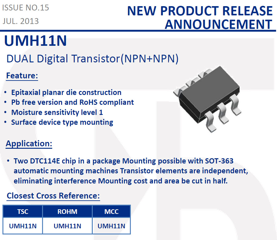 TSC - New product: UMH11N (Dual Digital transistor NPN+NPN)